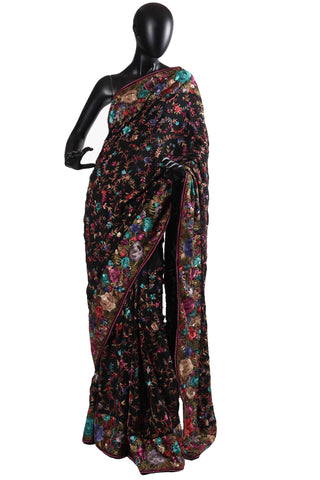 Black all over gara parsi saree