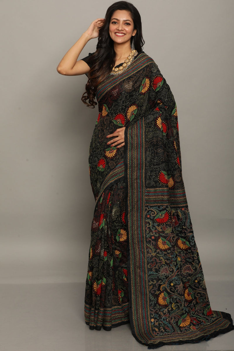 Black Jaba Kantha Saree