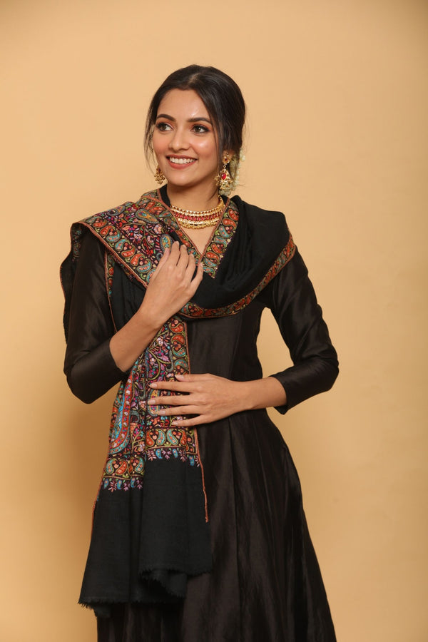 Black Pashmina Shawl with Shawl Border