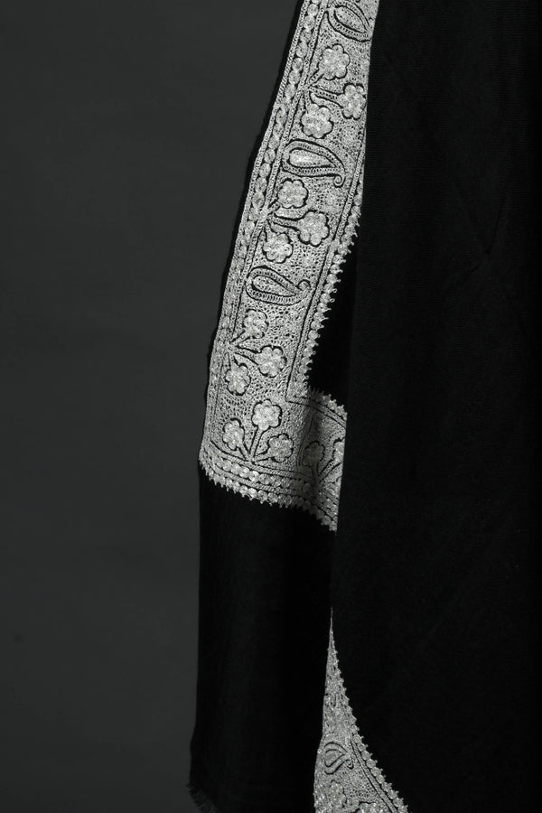 Black Pashmina Shawl with Tilla Border