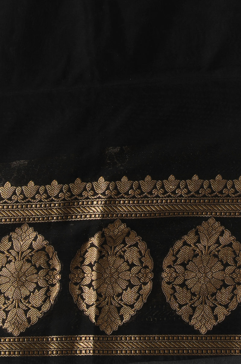 Black benarasi silk saree