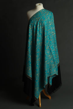 Blue and Black Embroidered Pashmina Shawl