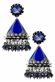 Silver Textured Floral Blue Enamel Lapis Cone Jhumka
