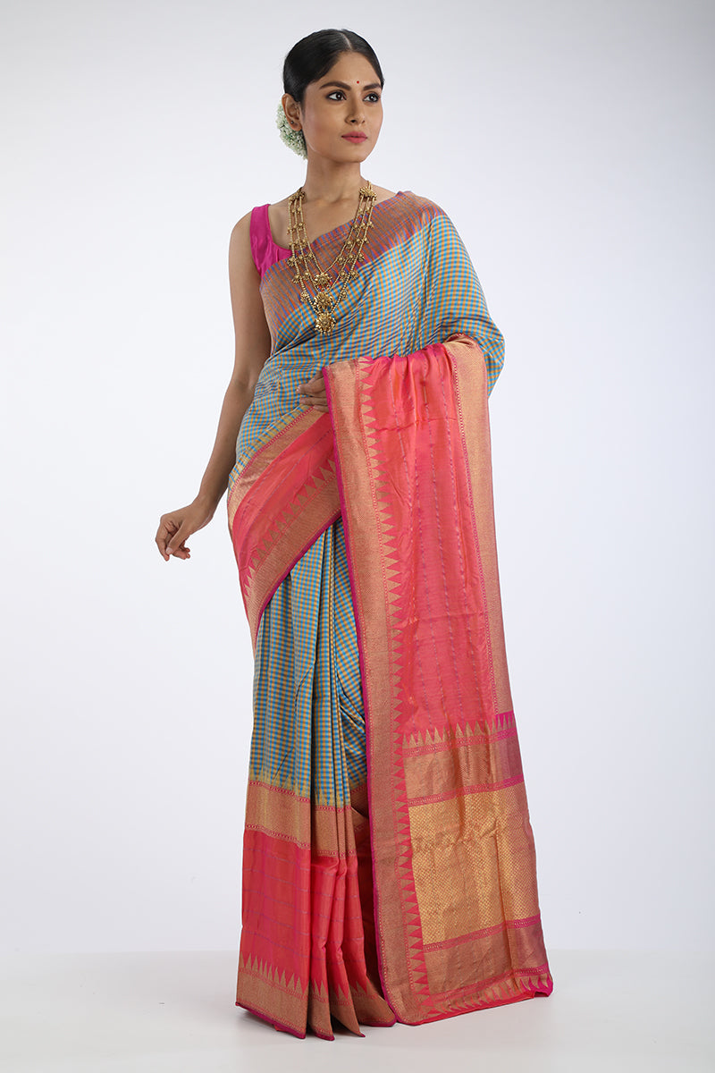 Gingham Benarasi Silk Saree