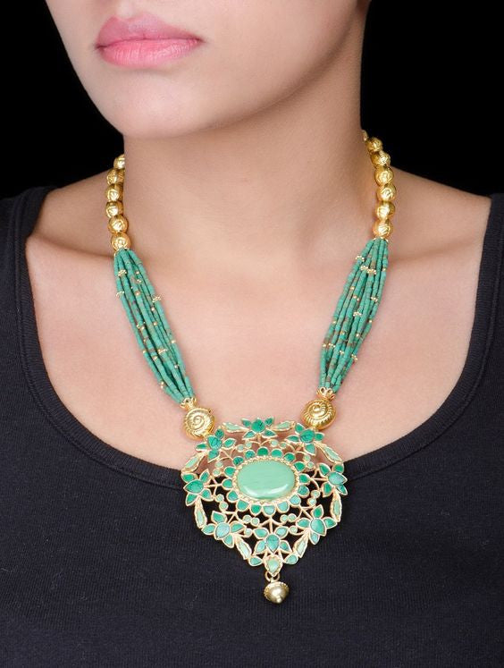 Silver Gold Plated Turquoise Necklace
