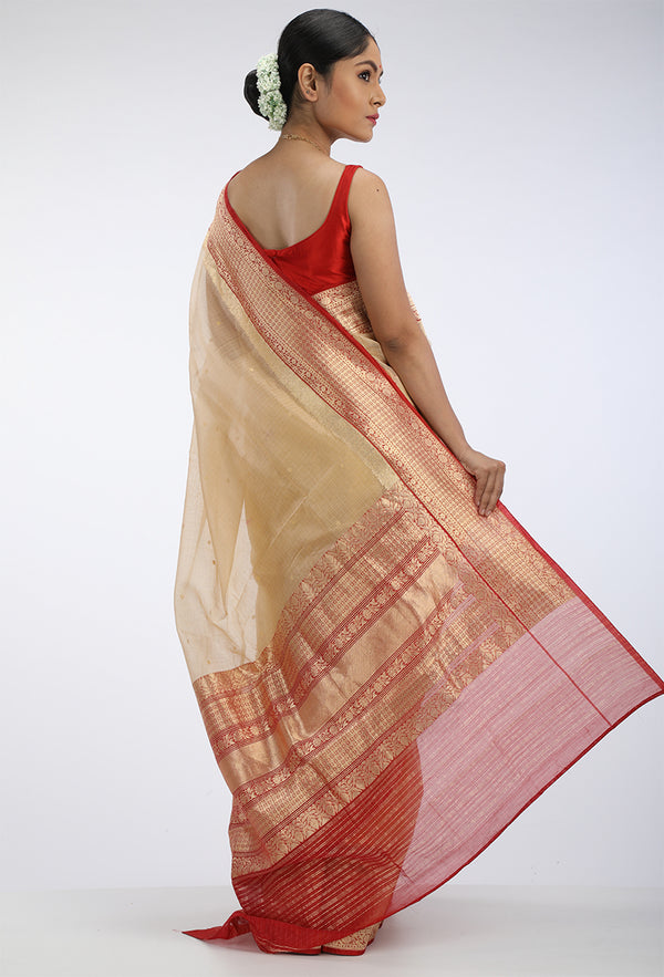 Gold Kota Silk Saree with red benarasi border