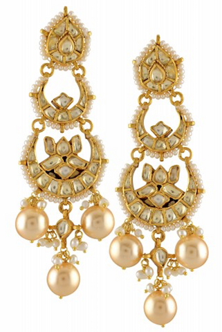 Silver Gold Plated Crystal Pearl Crescent Lotus Pear Earrings
