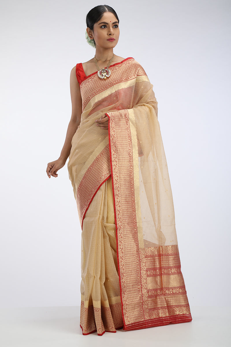 Gold Kotah Silk Saree with red benarasi border
