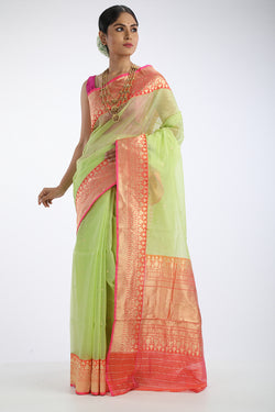 Green kora silk saree