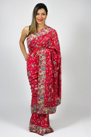 Coral Pink All over Gara Parsi Saree