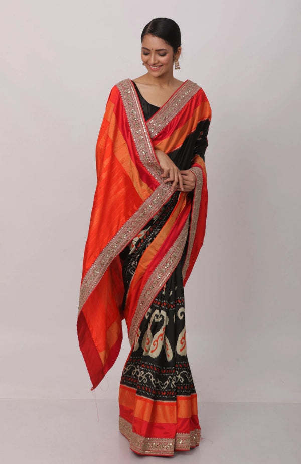 Pochampalli Saree With Hand Embroidered Border