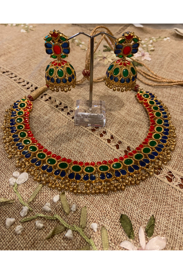 Silver Gold Plated Multicolor Glass Necklace Set