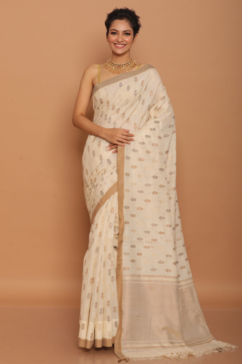 Off white handwoven chapa tussar saree
