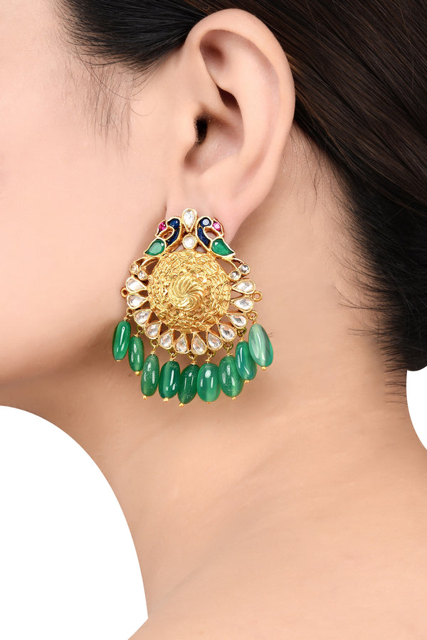 Silver Gold Plated Peacock Green Glass Drop Ear Studs
