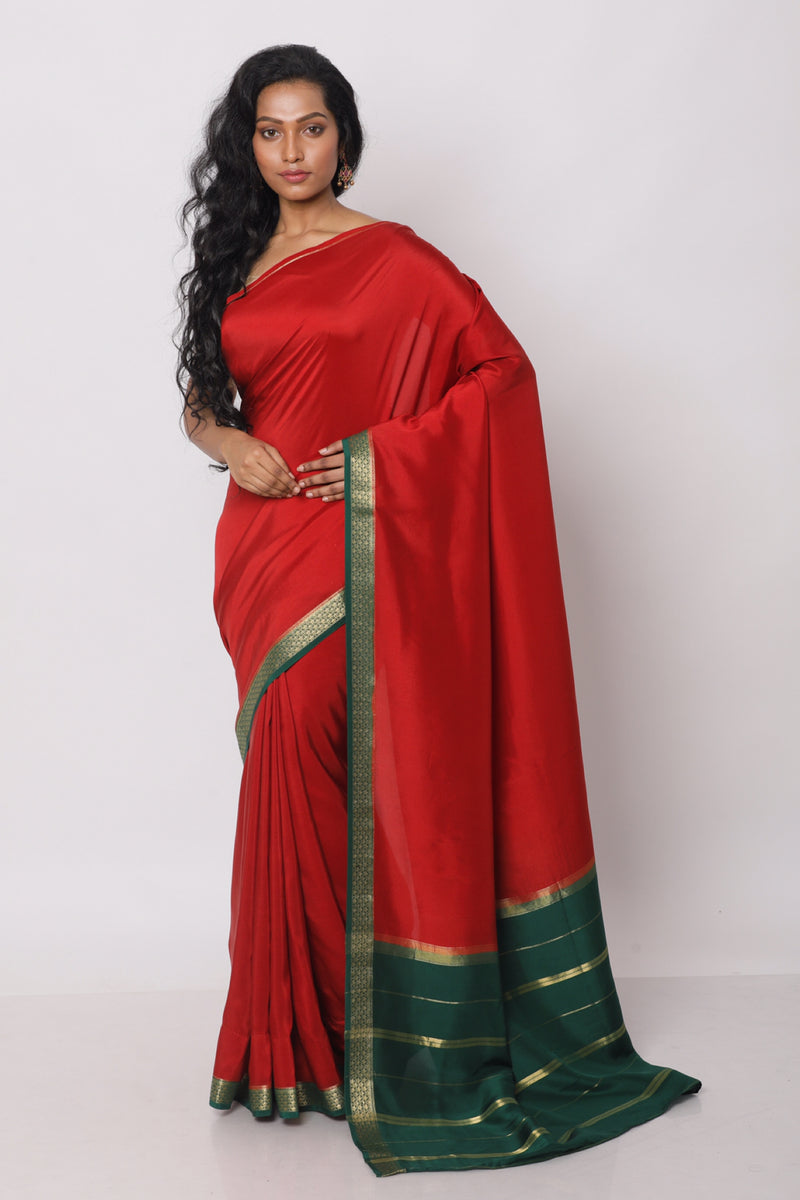 Authentic Red Mysore silk saree