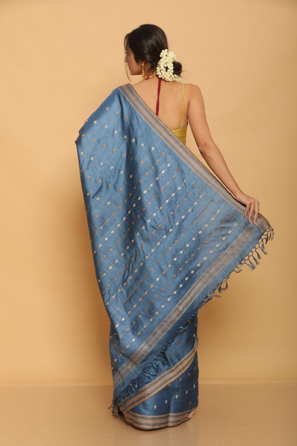 Blue Chapa Tussar Saree