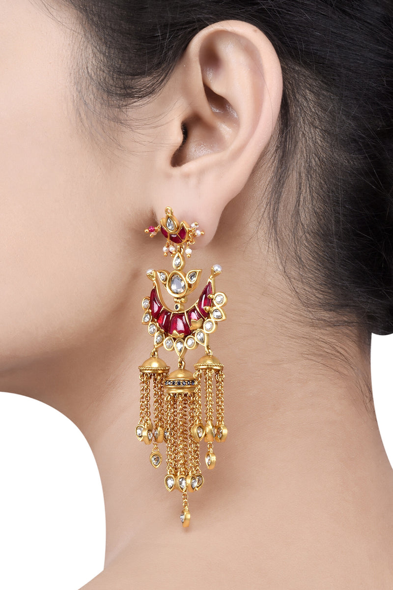 Silver Gold Plated Red White Crescent Jhumki Earrings