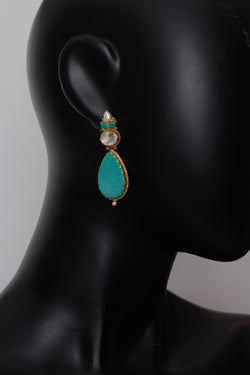 Silver Gold Plated Turquoise Stone earrings