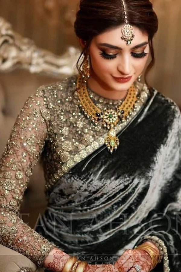 Sabyasachi velvet half and half saree