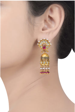 Silver Gold Plated Glass Pearl Floral Jhumki Earrings