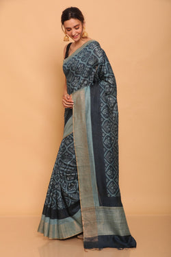 Blue Printed Tussar Saree