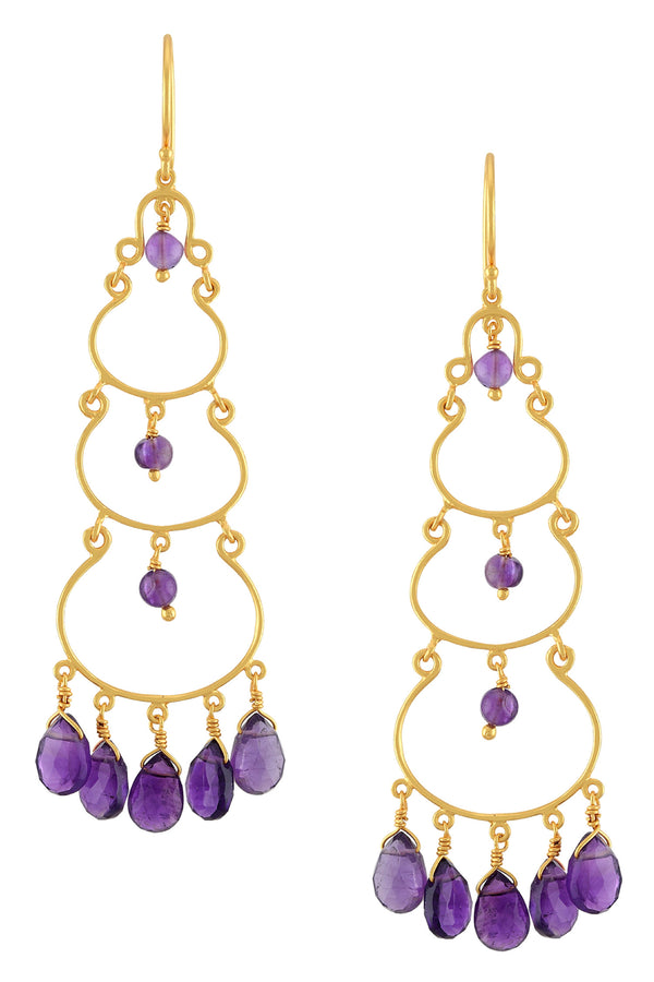 Silver Gold Plated Amethyst Drop Earrings
