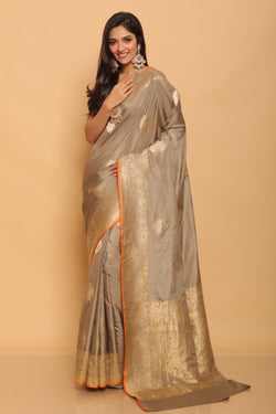 Grey Karwa Benarasi Silk Saree