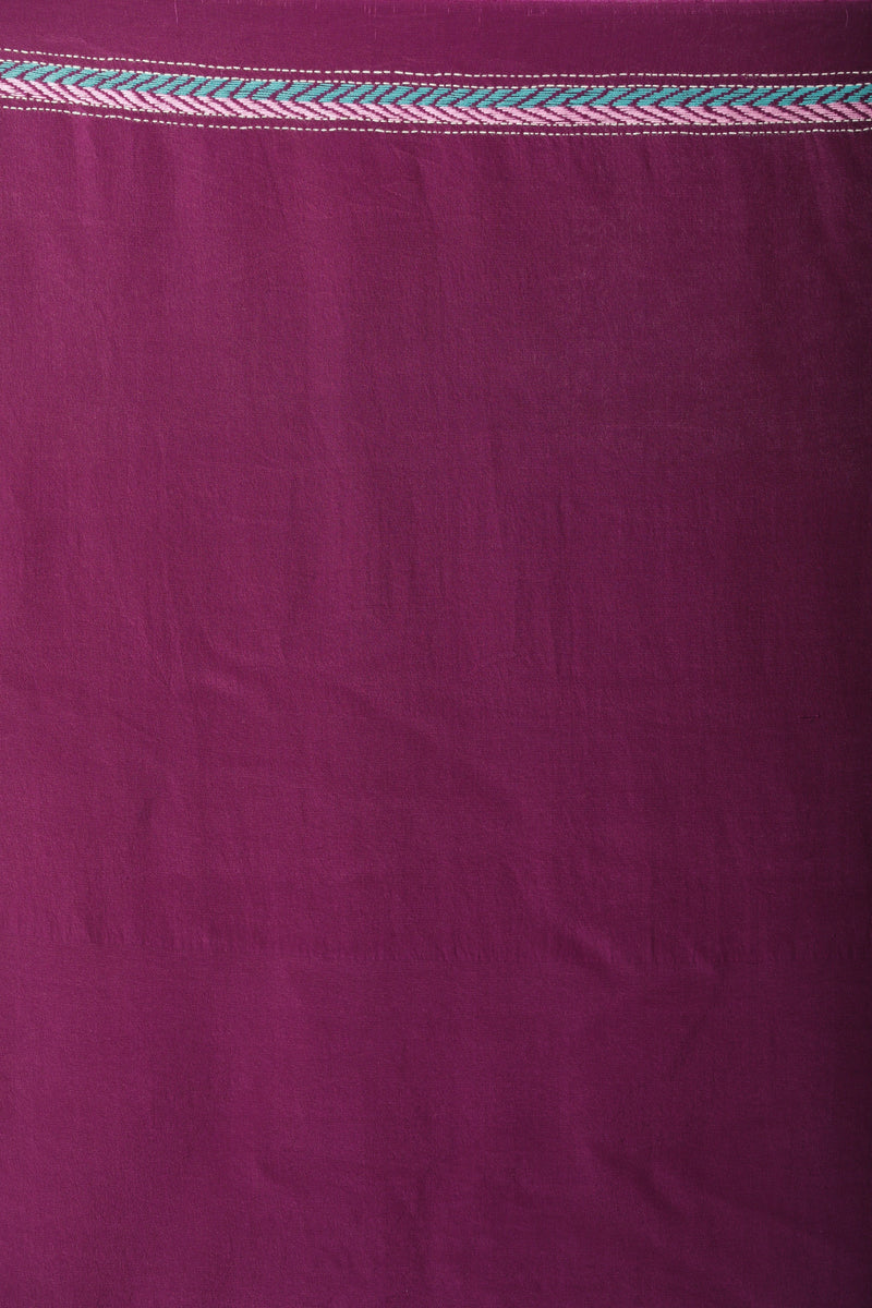 Purple Crepe Kantha Saree