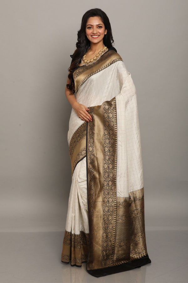 White Check Benarasi Silk Saree