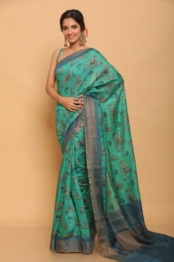 The Lucky Elephant Tussar Saree