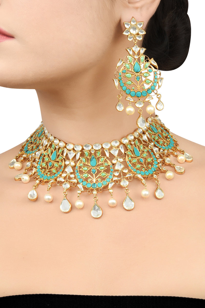 Silver Gold Plated Apsara Turquoise White Floral Moon Necklace Set