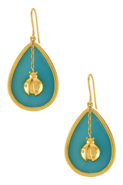 Gold Plated Turquoise Lady Bug Dangle Earrings