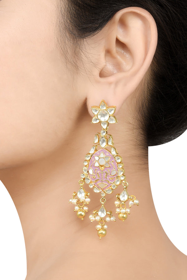 Silver Gold Plated Apsara Floral Pink Enamel Earrings