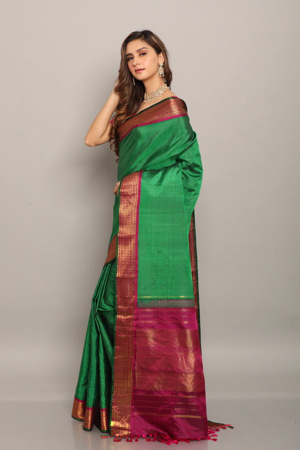 Green kanjiveram saree