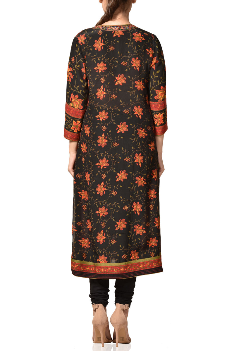 Black floral printed kurta set