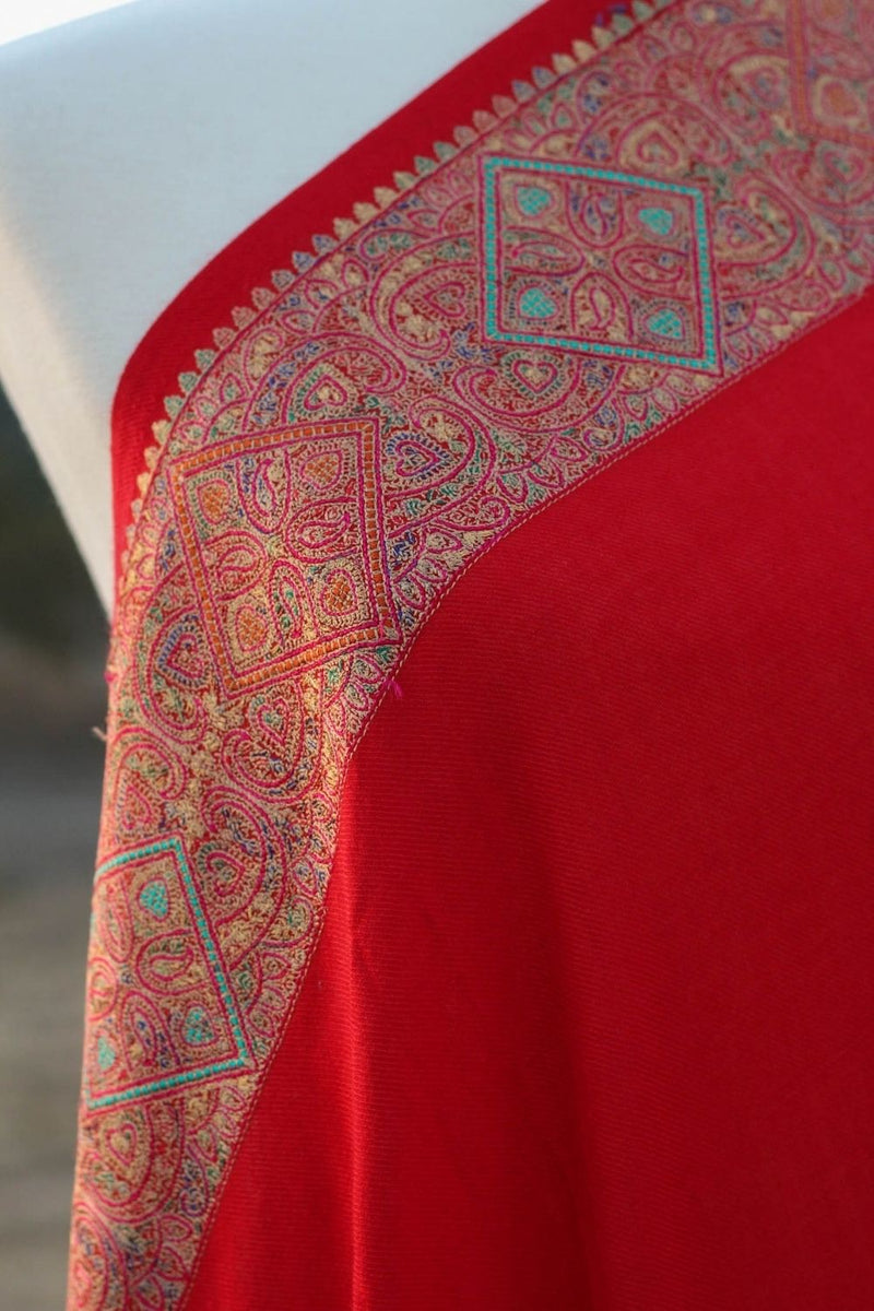 Red wool shawl with Kashmiri border