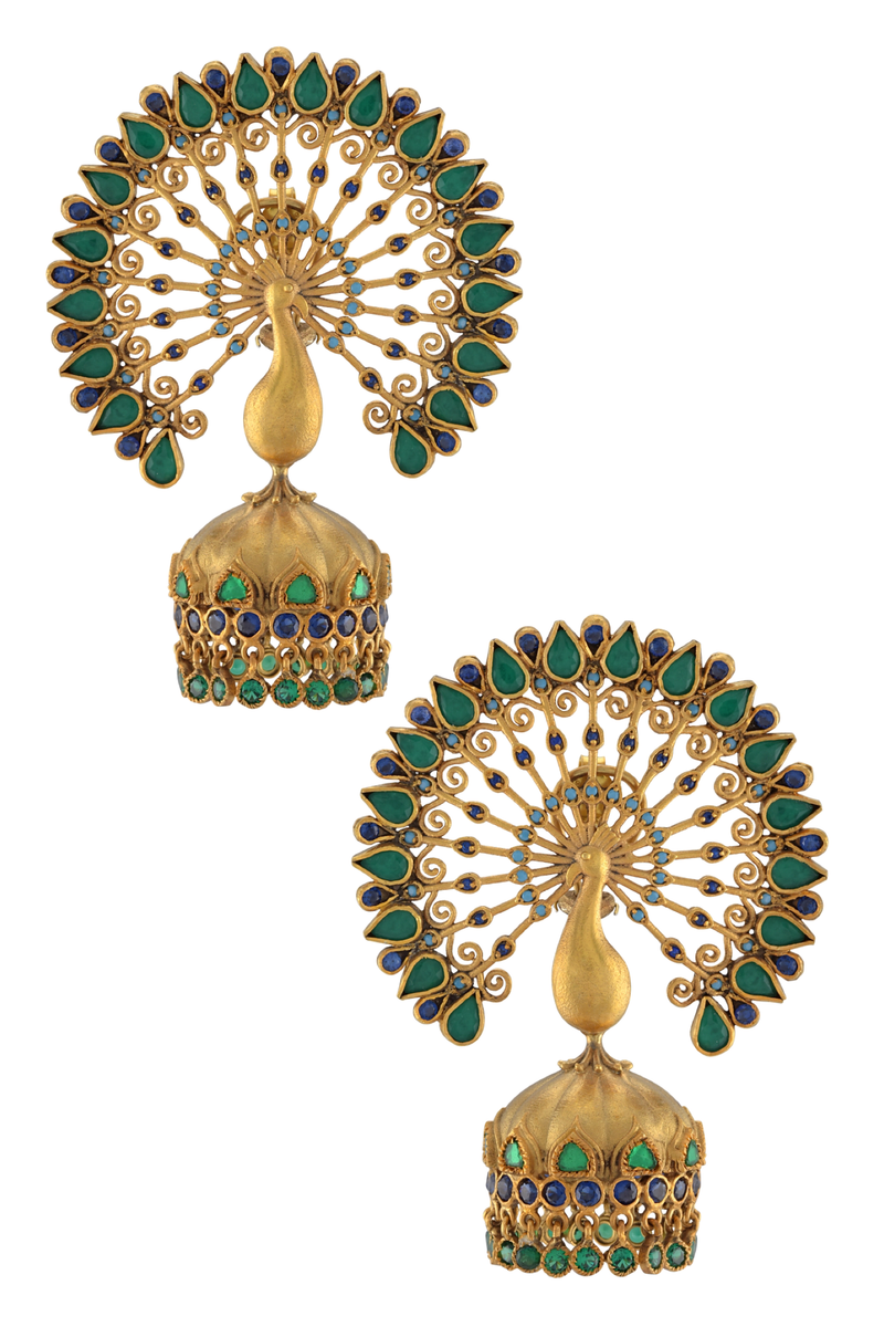 Silver Gold Plated Green Mayura Jhumka Earrings