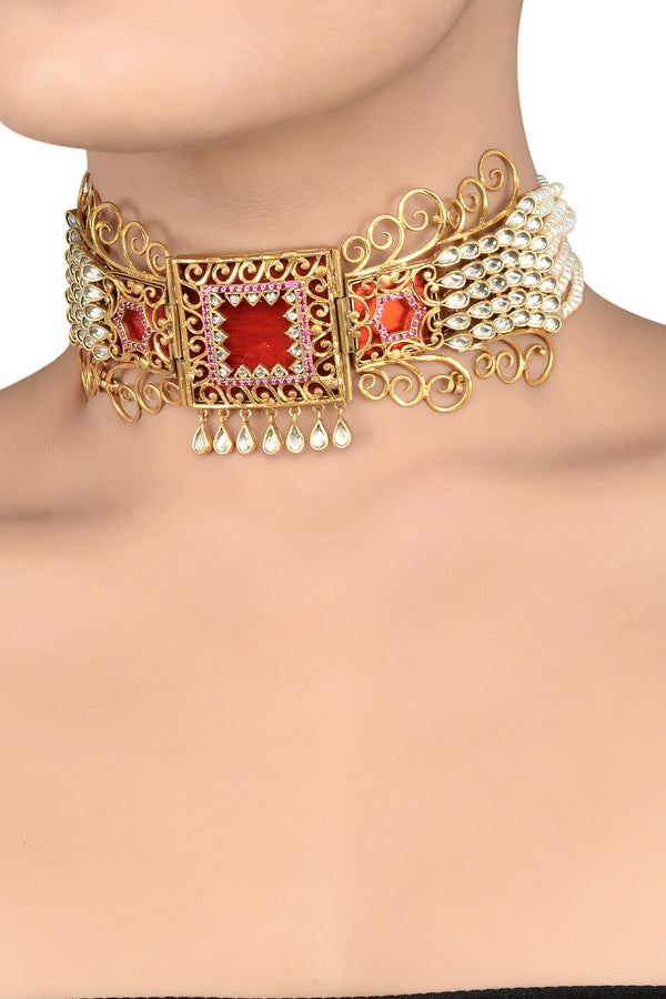Silver Gold Plated Red White Glass Pearl Atulya Choker