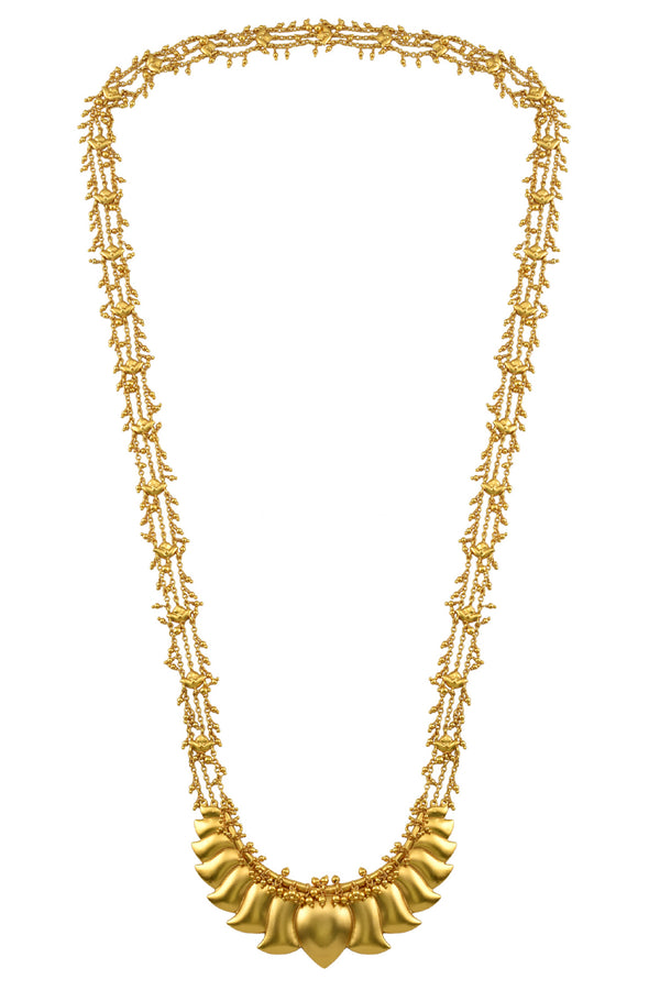 Silver Gold Plated Lotus Baahubali Long Necklace