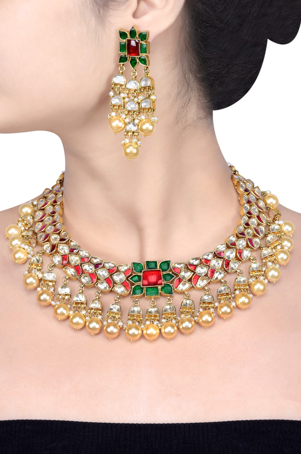 Silver Gold Plated Floral Glass Pearl Drop Necklace Set