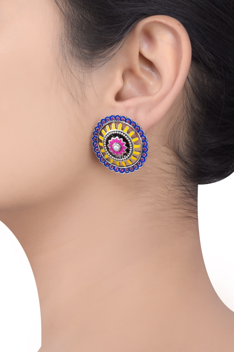 Enamel Floral Radial Tribal Pop Ear Studs