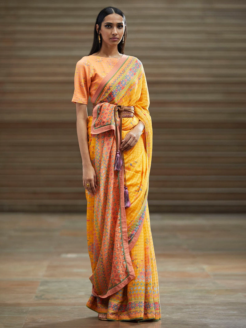 Yellow Abstract Printed Saree With Stitched Blouse