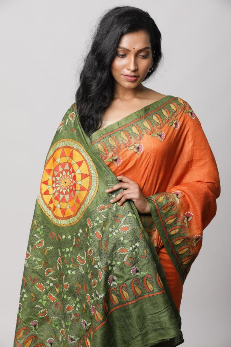 Orange Tussar Kantha saree