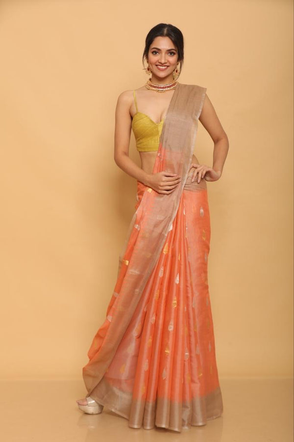 Orange Chapa Tussar Saree