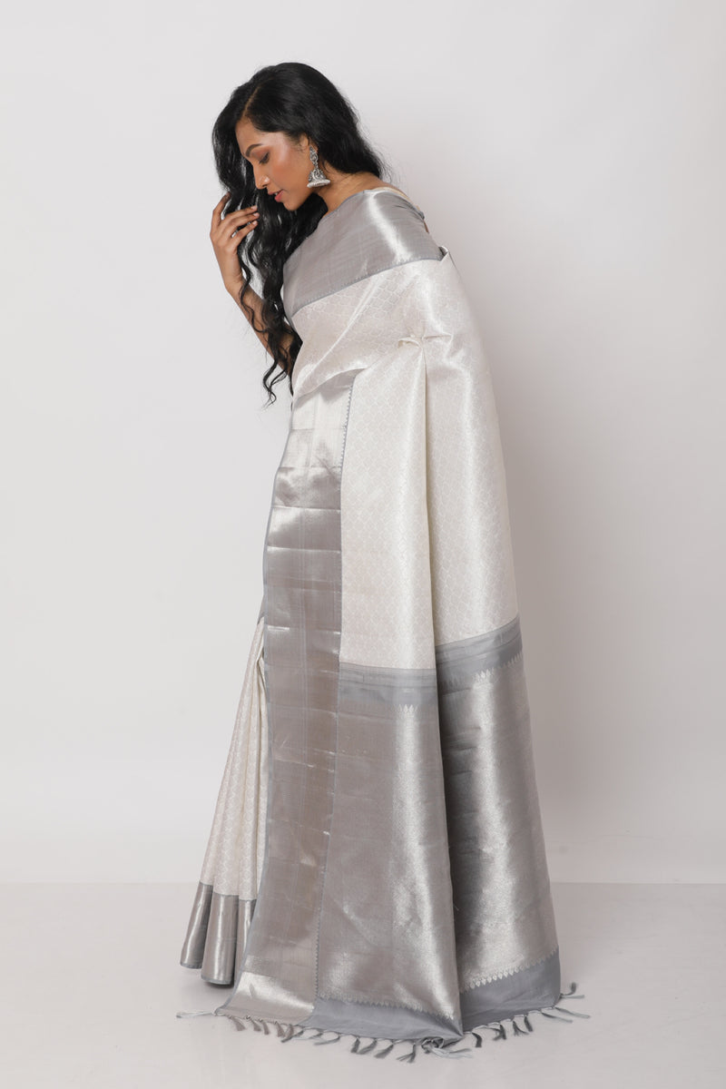 Grey Kanjiveram Silk Saree