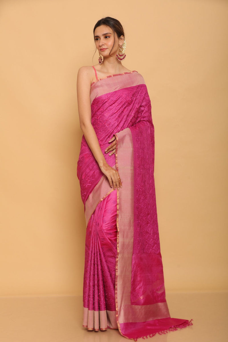 Pink Chapa Tussar Saree with Palu Embrodiery