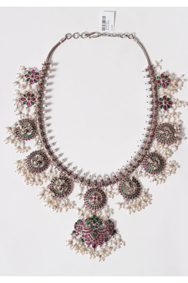 Silver Green and Pink Glass Pearl Ganpati Necklace