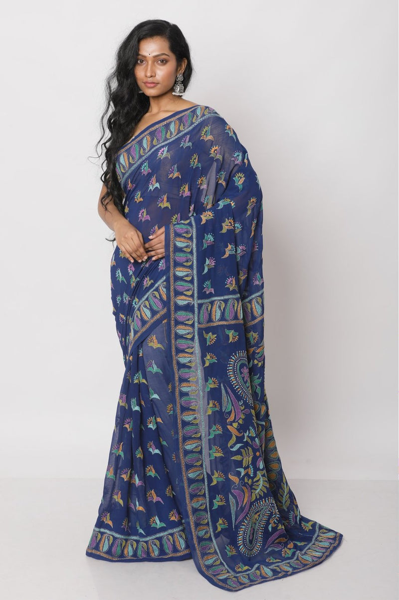 Blue Kantha Saree
