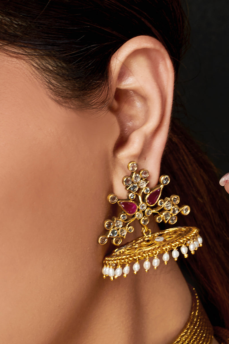 Silver Gold Plated Floral Jaali Jhumka Atulya Earrings