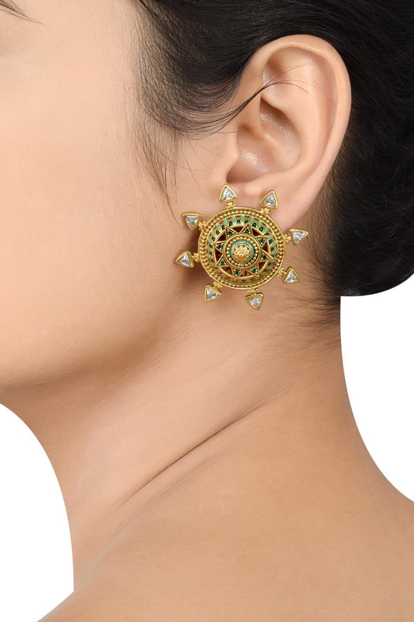 Silver Gold Plated Enamelled Star Ear Studs